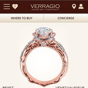 Verragio venetian designer 20k rose gold size 7